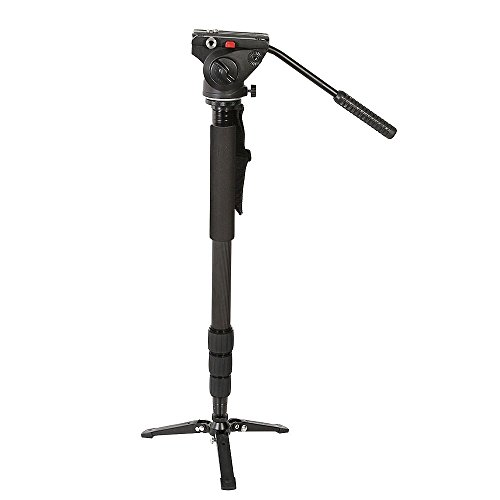 Fotga 67'' Lightweight Aluminum Monopod Kit with Fluid Head and Removable Feet,Rubber Twist Lock Max Load 13.2lbs for DSLR Cameras or Video by FOTGA