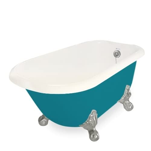 American Bath Factory T051A-SN-BP & DM-7 Trinity 60 in. Bisque Acrastone Tub & Drain44; Satin Nickel Metal Finish44; Large lovely