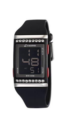 Calypso K6052/4 - Reloj de mujer de cuarzo, correa de plástico color negro: Amazon.es: Relojes