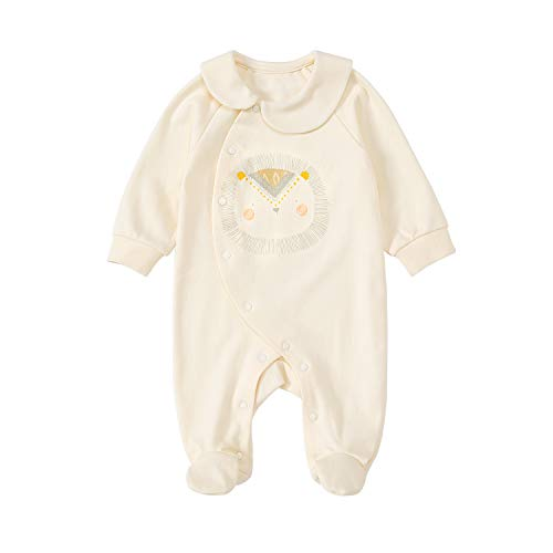 pureborn Baby Girls Boys Footies Collar Romper Onesies Cotton Pajamas Long Sleeve Jumpsuits Bodysuits Sleepwear Outfits
