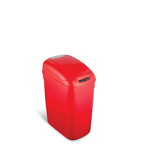NINESTARS DZT-20-1R Automatic Touchless Infrared Motion Sensor Trash Can, 5 Gal 20L, (Rectangular, Red Lid)