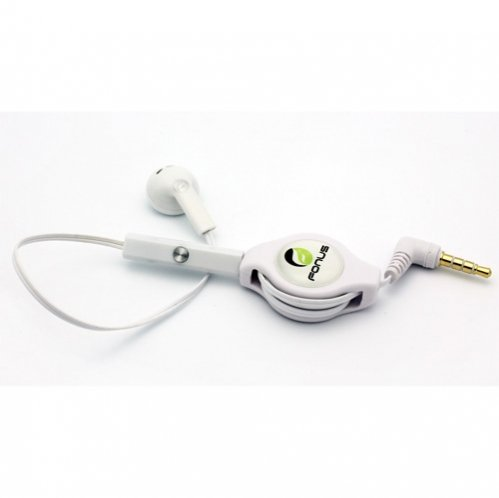 White Retractable 3.5mm Mono Handsfree Headset Earphone Sing
