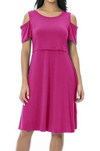 Smallshow Maternity Nursing Breastfeeding Dresses for Women Large Rose Red by Smallshow