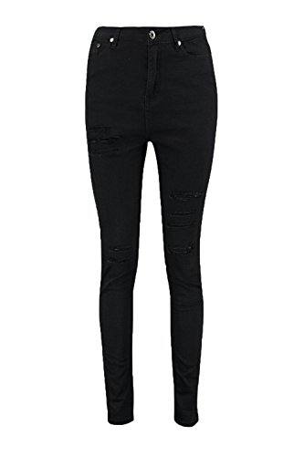 Boohoo Womens Jane 5 Pkt High Rise Ripped Skinny Jeans In Black Size 2 (5 Pkt Skinny Jean)