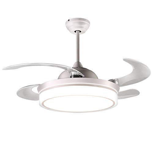 reiga 44-inch White Modern Ceiling Fan Retractable Blades with Dimmable LED Lights, Remote Control, Silent Motor Decoration Fandelier for Living room/Restaurant/Bedroom