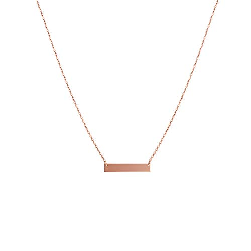 S.J JEWELRY Fremttly Womens Simple Delicate Handmade 14K Gold Filled/Rose Gold/Silver Simple Delicate Heart and Bar Chokers Necklace for Mothers Day- CK-Bar-Rose ()