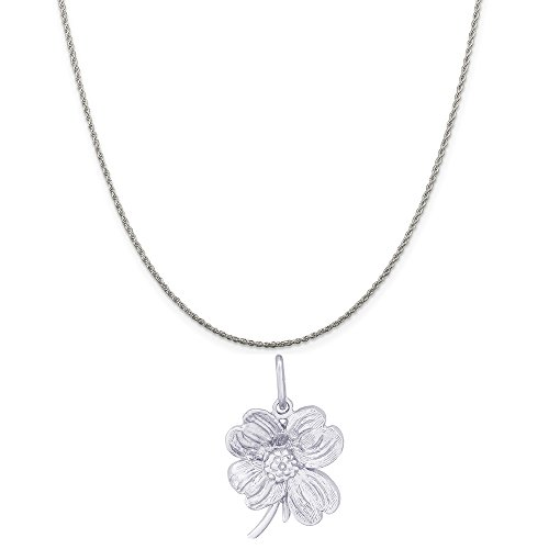 Dogwood Flower Charm - Rembrandt Charms Sterling Silver Dogwood Flower Charm on a Sterling Silver Rope Chain Necklace, 20