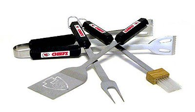NFL Kansas City Chiefs Four Piece Stainless Steel BBQ Set BBQ Grill Set 6 x 15in