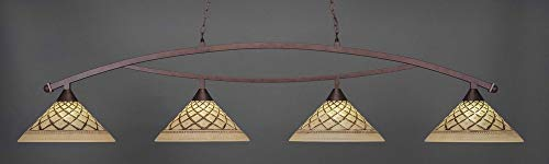 """Toltec Bow 4 Light Bar in Bronze with 16"""" Chocolate Icing Glass"""