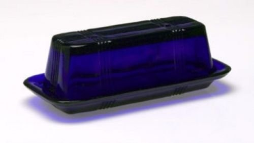 COBALT BLUE Style Glass Rectangle Butter Dish Covered Butter Dish (Black Transferware Plate)