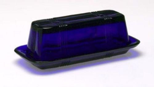 Cobalt Glass Depression (COBALT BLUE Style Glass Rectangle Butter Dish Covered Butter Dish Depression)