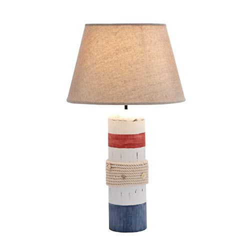 (MISC Nautical Rope Lamp Coastal Table Lighting Blue White Lighthouse Decor Bedroom Desk Accent Wood Rustic Buoy Beach Themed Cottage)