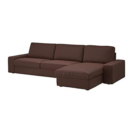 IKEA Genuine Slipcover for Kivik Sofa, Loveseat and with Chaise, Borred Dark Brown (Sofa with Chaise)