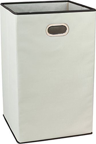 Clothes Hamper Canvas - DecoBros Folding Laundry Clothes Hamper, 23-inch , Beige