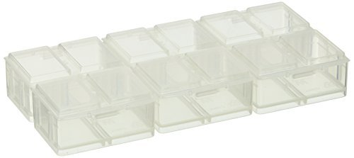 Medium Connect-A-Box® 12 pcs from Cottage Mills. Small item storage system that connects and stacks. Perfect for little things like beads, findings and parts. 2 Packages of - Parts Stackable