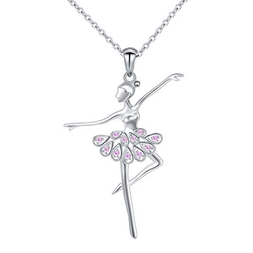 925 Sterling Silver CZ Ballet Dancer Ballerina Necklace Recital Gift for Women,18