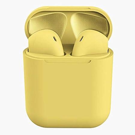 Inpods12 Auriculares Bluetooth Auriculares inalámbricos TWS Auriculares inalámbricos Deportivos con Auriculares Bass Bass para teléfonos móviles PK i7s i9s i12 Amarillo