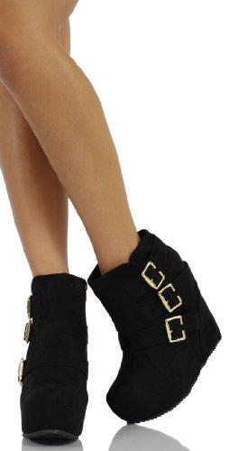Women's Besso Faux Suede Triple Buckle Platform Wedge Ankle Bootie Boot
