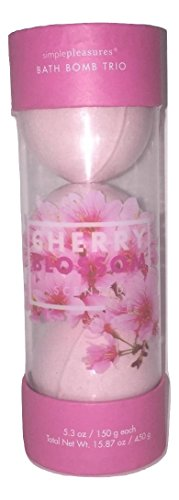 Simple Pleasures Bath & Body Soak Bomb Trio Cherry Blossom Scented Bath Fizz 5.3 oz / 150 g each - A Great Gift For Mom Gift or Present for Her, Women, or Friends (Pleasures Bath Gift)