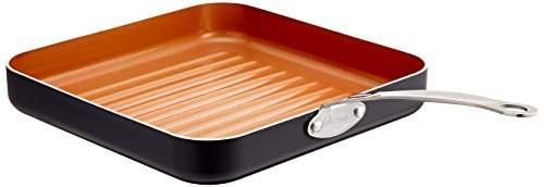 "Gotham Steel Grill Pan - 10.5"" Square Aluminum Grill Pan with Nonstick Surface, Sear Ridges and Stainless Steel Handle, Dishwasher and Oven Safe"