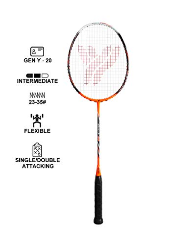 YANG-YANG Professional Series Lightweight High Modulus Graphite Badminton Racket (Vital Material for Strength&Shock Absorption reducing Muscle Injury) w/Carrying Bag (Strung, Intermediate: GY-20)