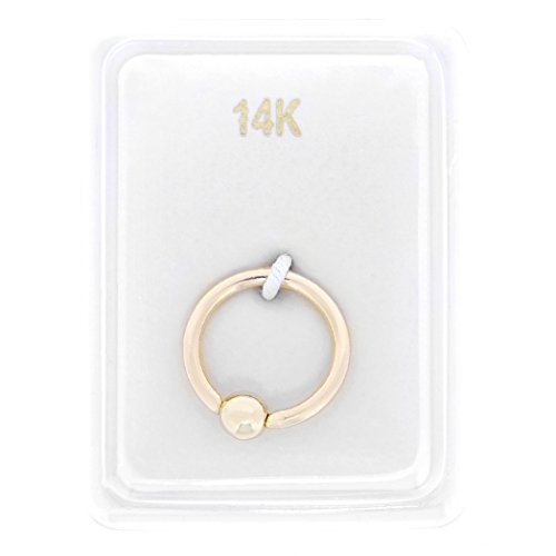 14K Yellow Gold Captive Bead Hoop Lip Eyebrow Cartilage Tragus Nose Ring 16G (Ring Button 14k Belly Gold)
