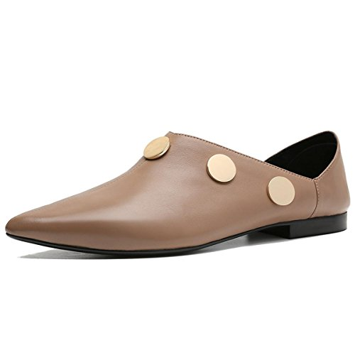 Eur Work Inverno Indossare Singole Nuove Di Pulsante Moda Cuoio uk Pelle 1 Half 37 Heel Genuino Scarpe Delle Donne Lazy Button Punta Due Pantofole 4 Mid 5 5 Nvxie Rough eur35uk3 Party 1qBxPSn