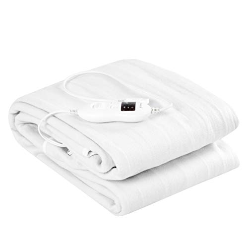 (Giantex Heated Mattress Pad W/Safety 8 Temperature Regulation and 4 Mode Timing Function, Washinable and Detachable Electric Blanket, White (Full))