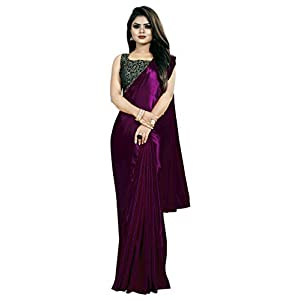 Amiga Fashion Women's Satin Silk Shiny Glamourous Draped Saree with Brocade Blouse