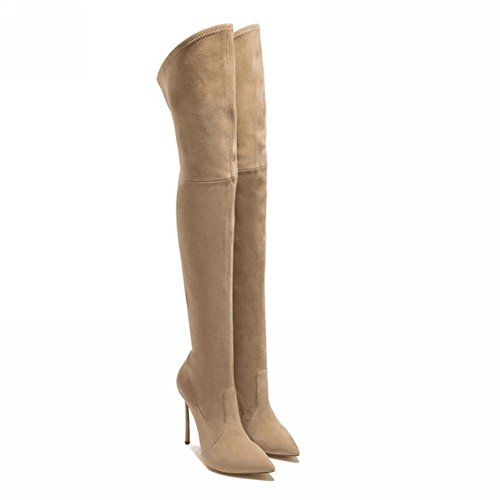 Estilete Zapatos Alto Encima 5 Negro uk Mujers eur36uk354 Apricot Botas Rodilla Marrón Elástico Eur Invierno Muslo Tacón 8 Nvxie 42 Puntiagudo Otoño Fregar 0wSYAqxzA