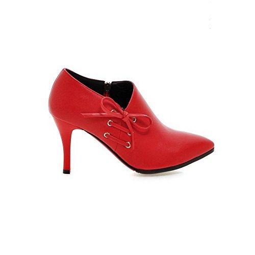 Gold Pinker Bowknot Winkle Womens Lederimitatstiefel 1TO9 Rot Stiletto 4avBWwn