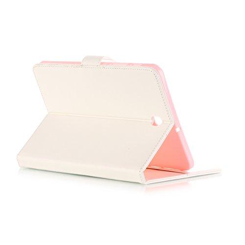 JIALUN-Personality teléfono shell Samsung Tab S2 8.0 funda, caja de cuero de la PU de color sólido Flip funda con soporte para tarjeta de crédito Samsung Tab S2 8.0 pulgadas T710 T715 T715C Seguridad  White