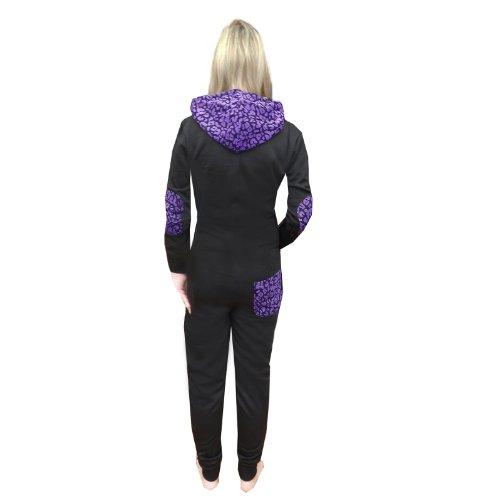 Belle Boutique Femmes L02 Combinaison À Capuche - noir-Pansy Violet, Small