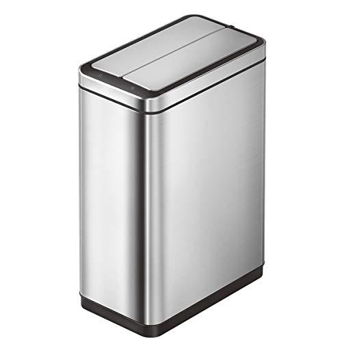 EKO Deluxe Phantom 45 Liter / 11.8 Gallon Motion Sensor Trash Can, Brushed Stainless Steel Finish