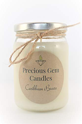 Gemstone Candle - Caribbean Breeze - Soy Candle with A Gemstone Inside (Surprise Semi-Precious Faceted Gemstone Valued $10-$5,000)