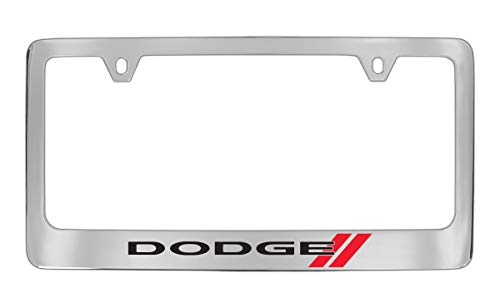 Dodge Logo Chrome Plated Metal License Plate Frame Holder