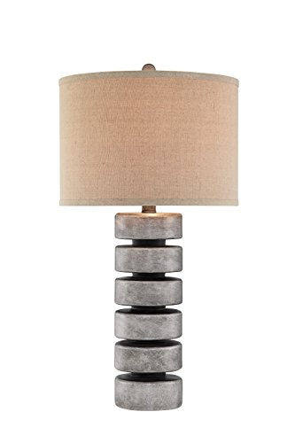 Catalina 19105-000 3-Way 31-Inch Contemporary Stacked Disc Table Lamp with Linen Drum Hardback ()