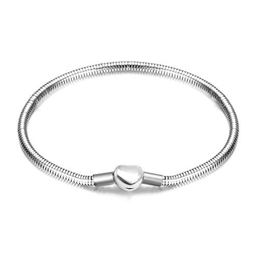 JMQJewelry Heart Snake Chain Bracelet 20cm/7.9in Charm Bracelet with Lobster Clasp for Women Mother Day (Steel Pandora Bracelet)