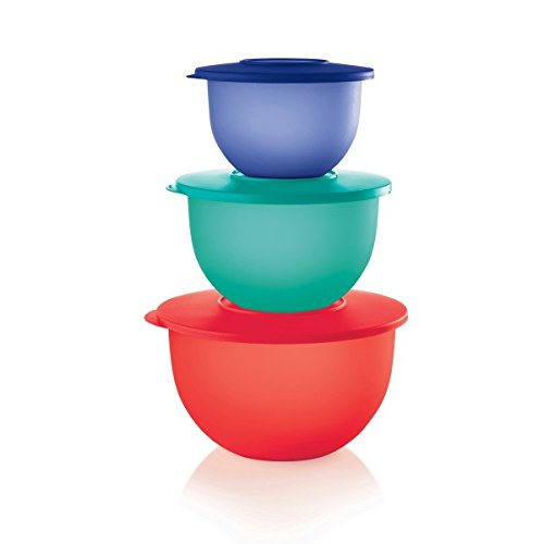(Tupperware Set of 3 Impressions Classic Nesting Bowls in 5.5, 10 & 18 Cup Sizes - Tokyo Blue, Parrotfish, Emberglow)