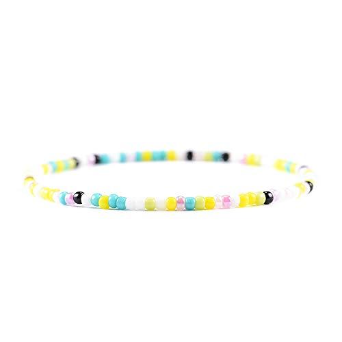 Seed Bead Bracelets Beaded Anklet Bracelet Jewelry Colorful Miyuki Beads for Women Girls Friendship Stretch Colorful Beaded Friendship Bracelets