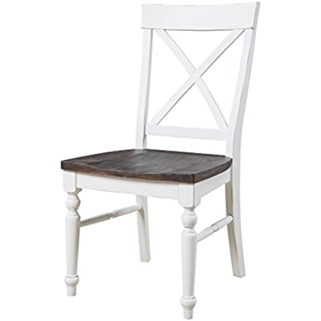 Emerald Home D601 20 2PK K Mountain Retreat Dining Chair Collection Standard Brown Top White Base