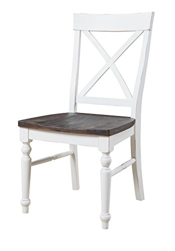 Emerald Home Mountain Retreat Antique White and Dark Mocha Dining Chair with All Wood Frame, X Back, And Contrasting Seat, Set of Two