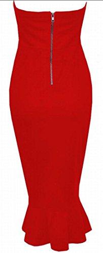 Jaycargogo Cocktail Midi En Queue De Poisson Robe Tube De Mode Robe Féminine Rouge