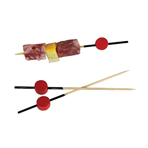 Long Bamboo Pick with Black End, Red Bead (Case of 100), PacknWood - Biodegradable Wood Sticks for Appetizers, Drinks (3.15