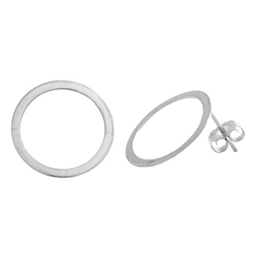 (Flat Open Circle Stud Earrings Sterling Silver Dainty Gift For Her Everyday Jewelry Fashion Trends)