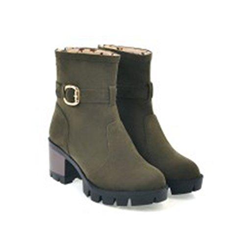 Aisun Damen Blockabsatz Plateau Chelsea Boots Nubukleder Kurzschaft Stiefel Grün 41 EU k90Zi