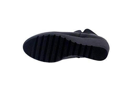 Calzado mujer confort de piel Piesanto 7791 botín casual cómodo ancho Negro