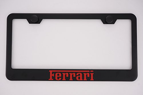 Ferrari Black License Plate Frame with Caps