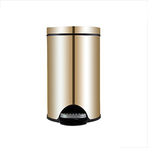 Light Years Pedal Stainless Steel Trash Can, Family Large Capacity Covered Waste Bin Living Room Kitchen Bathroom Silent Trash Can (Color : Gold, Size : 12L) (Pedal Room)