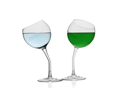 Tipsy Wine Glasses Set of 2 Tilted Crystal Wine Glasses With Saying - Drink Responsibly Don't Spill It! | Dishwasher Safe Certified Lead-Free Funny Wine Glasses | Bent Stem Novelty Wine Glasses - Novelty Drinking Glasses
